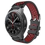 TiMOVO Cinturino per Gear S3 Frontier/Classic Watch, Braccialetto Perforato di Ricambio in Silicone per Samsung Gear S3 Frontier, S3 Classic, Moto 360 2nd Gen 46mm Smart Watch, Nero & Rosso