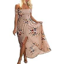 Verano Vestido de Playa Maxi Irregular Flores Partido Hombro Descubierto Vestidos de Fiesta Largos de Noche Rosado XL