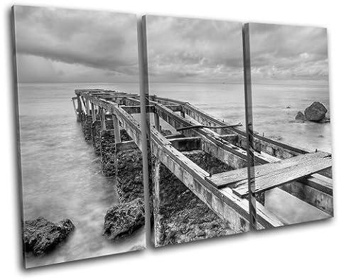 Bold Bloc Design - Abandoned Pier Sunset Seascape - 150x100cm Boîte de tirage d'Art toile encadrée photo Wall Hanging - à la main dans le UK - encadré et prêt à accrocher - Canvas Art Print