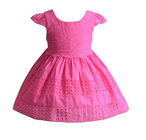 Cinda Baby Mädchen Kurzschluss Hülsen Baumwoll Sommer Kleid Partei Kleid Fuchsie 80-86 (Mädchen Für Fuchsie Kleider)