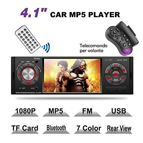 MEKUULA MP5 Car Stereo Auto Bluetooth Autoradio con Schermo da 4.1 Pollici, Luci con 7 Colori, Radio FM, USB/Micro SD/AUX, Telecomando Incluso, Ricarica USB