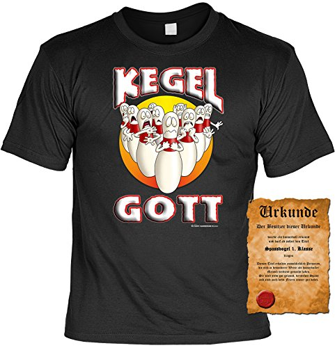 Sprüche Fun T-Shirt & Spassurkunde in schwarz Kegel Gott Schwarz