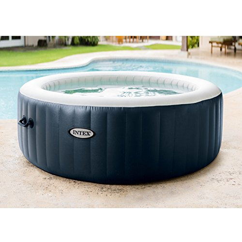Intex L&G FR 28406EX Pure Spa 4 Places Rond Bulles LED, 795 L, Bleu Marine, 196 x 71 cm