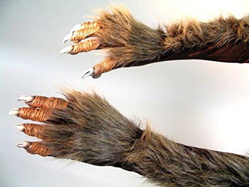 Haarige Monster Handschuhe Werwolf Hände Wolfskrallen Ellenbogen Handschuhe Werwolf Krallen Körperteil Imitat (Haarige Braun Hände)