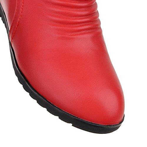VogueZone009 Donna Cerniera Punta Tonda Tacco Medio Bassa Altezza Stivali Rosso