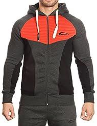 SMILODOX Kapuzenpullover Herren | Zip Hoodie für Sport Fitness Training & Freizeit | Trainingsjacke - Sportpullover - Sweatjacke - Kapuzenpulli mit Reißverschluss