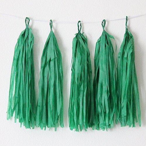 10 x Halloween Papier Tassels, pompons, Girlande, Dekoration grün