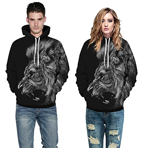 AMOMA Unisex Slim Fit 3D Digital Bedruckte Sweatshirt Kapuzenpullover Hoodies Black White Lion