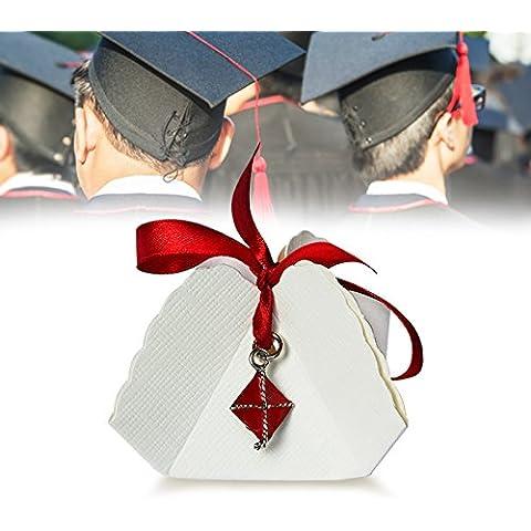 Bomboniera Store - Bomboniera Cappello laurea a ciondolo Con packaging e con nastro blu per Laurea