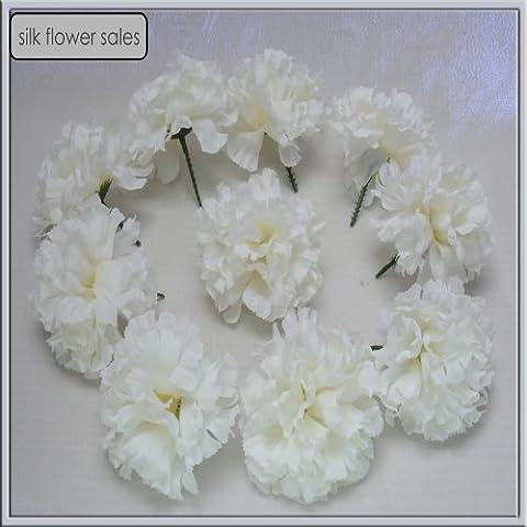 144 Cream/Ivory carnation picks artificial silk flowers, wedding buttonholes, funeral tributes