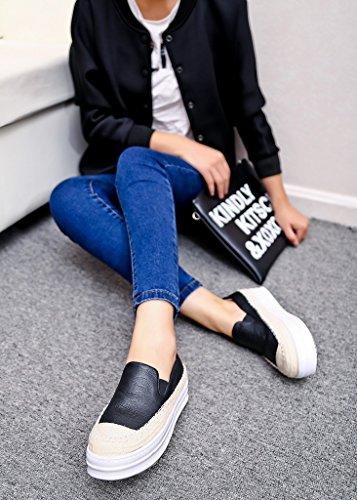 Femmes Fait Main Cuir Mokassin plateforme Loafers Chaussures Creepers Noir
