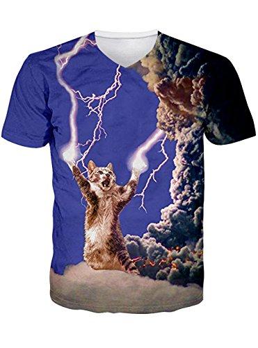 Leapparel Unisex 3D Thunder Katze Grafik Druck V Neck T-Shirts Tops FüR Herren (Top Alltags-unisex V-neck)