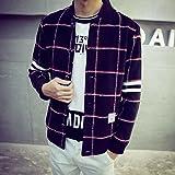 Spritech (TM) Hombres de Nueva Moda Comodidad chaqueta de lana de invierno Slim fit-Rejilla plegable para aparcamiento cuello Overcoat, negro