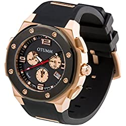 OTUMM Speed Men's Watch XL 45 mm Chronograph Rose Gold 07197) - Black