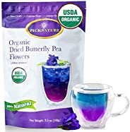 BIG PACK Organic Butterfly Pea Flower Tea 3.5Oz, Ideal for 500 cups or more, Premium Dried Flowers for Drinks