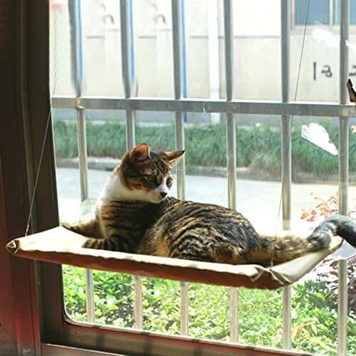 regalos kawaii gato Percha de la ventana del gato, cama montada del gato, amortiguador de la cama del gato, cubierta lavable, hamaca de la ventana del gato Basking, colchón de la perca que cuelga el asiento del estante, perca del gato, cattery, casa del gato, jerarquía del gato