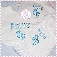 Personalisd 3 peice gift set, Baby Vest, Bib & Sleepsuit, Embroidered design Plus gift wrap & personalised ribbon