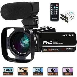 """Caméra vidéo, ACTITOP Caméscope FHD 1080P 24MP IR Vision Nocturne 3""""Caméra vidéo pour caméscope Youtube à écran Tactile LCD avec Microphone Externe, Objectif Grand Angle, télécommande et Pare-Soleil"""