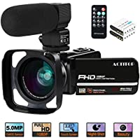"Video Camera, ACTITOP Camcorder FHD 1080P 24MP IR Night Vision 3"" LCD Touch Screen YouTube Vlogging Camera Camcorder With External Microphone, Wide Angle Lens, Remote Control and Lens Hood"