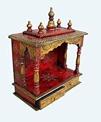 Theshopy Wooden Hand Made Hand Painted Temple With 2 Drawer Size:-18x9x23 A525