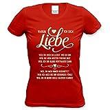 Oster-Geschenk für Frauen Girlie T-Shirt mit Print Aufdruck:Warum ich Dich liebe Farbe: rot Gr: M