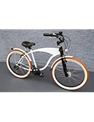 '26showbike Cruiser bicicleta 7velocidades Shimano dinamo de buje Schwalbe Blanco