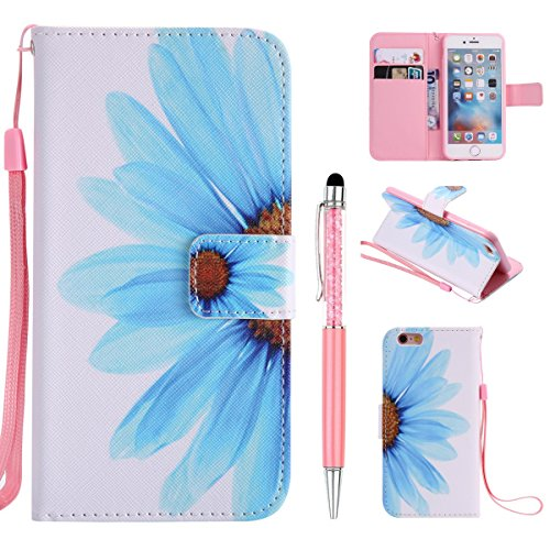Cover Pelle per iPhone 6,per iPhone 6S Custodia, ZCRO Cover Flip Portafoglio Libro in Pelle PU Wallet Case Multifunzione Copertura Colorate Disegno Modello Caso con Magnetica Cinturino Supporto Stand  Fiore