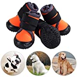 Petilleur Protector Dog Boots Dog Shoes Anti-skid and Breathable for Outdoor Activities (60, Orange)