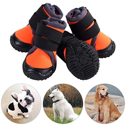 Petilleur 4Pcs Hundeschuhe Rutschfeste Hundeschuhe Pfotenschutz für Aktivitäten im Freien (60, Orange)