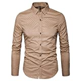 AIYINO Herren Bedruckte Hemd Langarm Baumwolle Freizeit Slim Fit (X-Large, 17-Khaki)