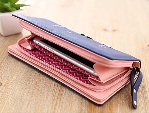 Ylen Lungo Portafoglio per Donne Grande Capacità Borsetta Borsa Frizione Titolare della Carta di Credito Portamonete Blu scuro