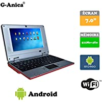 "G-Anica Ordenador portátil de 7.0""(WIFI, 1.5GHz 512 MB de RAM, 4 GB de disco duro) Android 4.4.2 Netbook color-rojo"