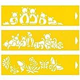 (Satz von 3) 30cm x 8cm Flexibel Kunststoff Universal Schablone - Textil Kuchen Wand Airbrush Möbel Dekor Dekorative Muster Torte Design Technisches Zeichnen Zeichenschablone Wandschablone Kuchenschablone - Katzen Schmetterlinge Flauschig Spielzeug Tiere