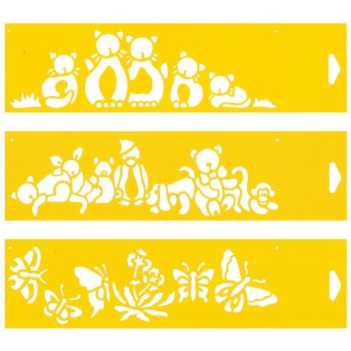 (Satz von 3) 30cm x 8cm Flexibel Kunststoff Universal Schablone - Textil Kuchen Wand Airbrush Möbel Dekor Dekorative Muster Torte Design Technisches Zeichnen Zeichenschablone Wandschablone Kuchenschablone - Katzen Schmetterlinge Flauschig Spielzeug Tiere -