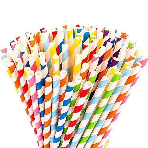MINGZE 200 Stück Biologisch Abbaubar Papier Strohhalme Trinkhalm Stroh, 8 Regenbogenfarben Bulkpapier für Säfte Shakes Smoothies Party Supplies Dekorationen, 197 * 6mm (Gestreift)