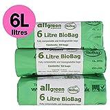 6l X 150sacs compostables de 6l de cuisine Caddy Sacs–Sacs-poubelle pour déchets alimentaires–EN13432–Compost