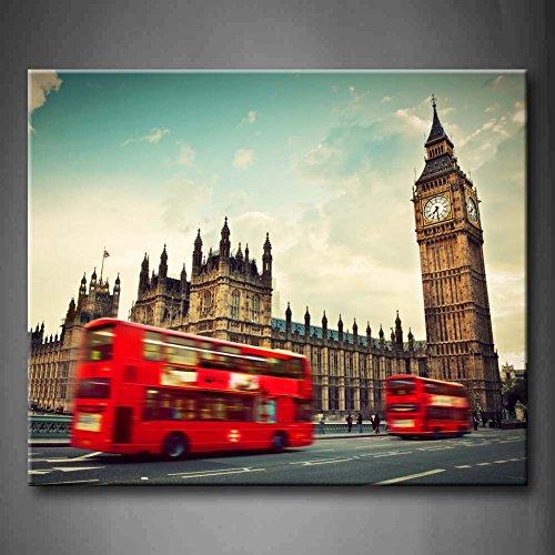 Schwarz und Weiß & Rot Rot Bus Motion und Big Ben Palace...
