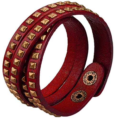 alloy-genuine-leather-bracelet-mens-ladys-double-circle-bangle-cuff-wrap-link-adjuastable-red