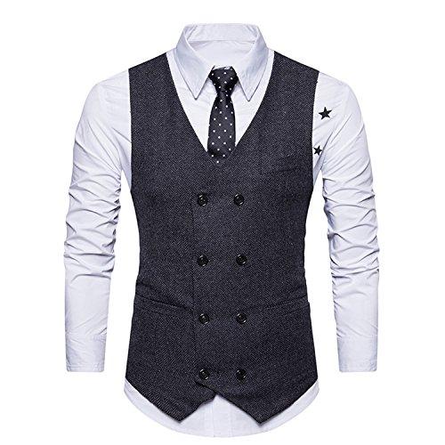 YCHENG Hombre Sin Mangas Clásico Chaleco Vestir de Boda Casual Moda Waistcoat Negro M