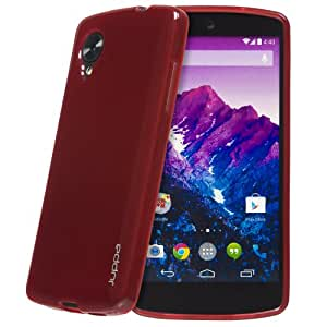 Juppa® LG Google Nexus 5 TPU Gel Case with Screen Protector, Micro Fibre Cleaning Cloth and Application Card (Red)