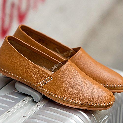 Herren Leder Slipper Slip-on Lässige Loafer Fahren Bootsschuhe Schuhe Flache Mokassins Braun