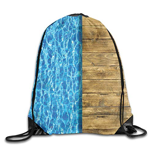 YOWAKi Printed Drawstring Backpacks Bags,Summer House Seem Swimming Pool with Wooden Seem Deck Image,Adjustable String Closure -