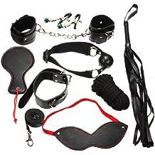 KINGSO Kit 9 de Jueguete sexual Atado bondage Latigo Mascara Mordaza de bola Pinza para pezones Collar puño Pluma Negro Sexo Bondage