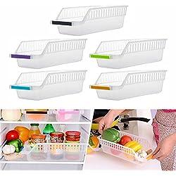 Rameng 2PCS Plastique Boîte Corbeilles de Rangement pour Conteneur Réfrigérateur Organiseur Transparent ... (B)