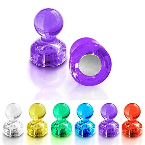 Push Pin Magnete | im praktischen Set (10, 30, 60 oder 120 Stück) | starke Neodym Magnete für Magnettafel, Whiteboard, Kühlschrank etc. | viele Farben wählbar (30 Stück (Kühlschrank Lila)