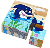 9 Piece Colorful Wooden Block Picture Puzzle for Toddlers and Small Children (Aquatic Theme)