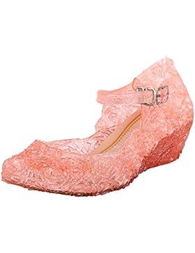 [Patrocinado]Tyidalin Niña Bailarina Zapatos de Tacón Disfraz de Princesa Zapatilla de Ballet para 3 a 12 Años Rosa EU28-33