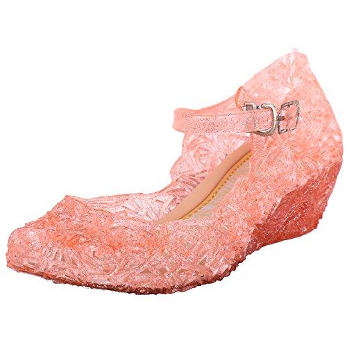 Tyidalin Mädchen Ballerinas Kinder Prinzessin Königin Kostüm Schuhe Sandalen Absatz Schöne Verkleidung Weihnachten Pink EU32