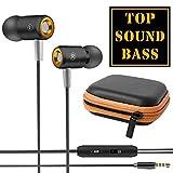 solidBASIC Headset In-Ear Kopfhörer | Earphone Flat Style Design - SCHWARZ + Hardcase Aufbewahrung | Box | Zipper Bag - schwarz | orange
