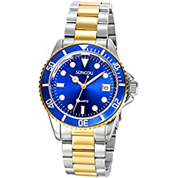 SONGDU Men's Gold Plated Business Casual Blue Dial Stainless Steel Bracelet Quartz Watch